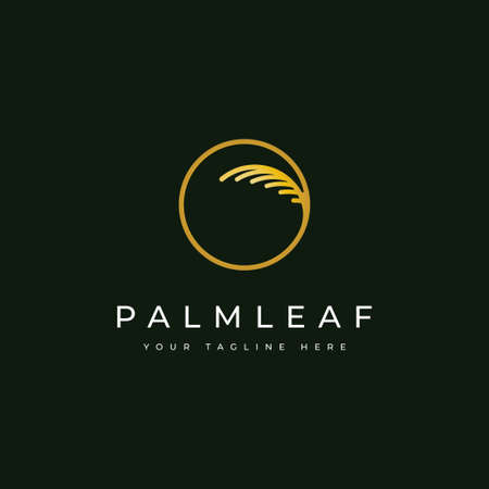 Palm leaf logo design template.luxury elegant palm tree symbol Illusztráció