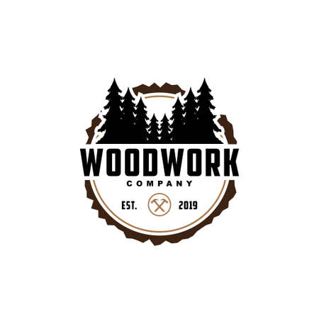 wood working symbol logo design.Creative icon for carpentry company.Sawmil with tree illustration for wood work company