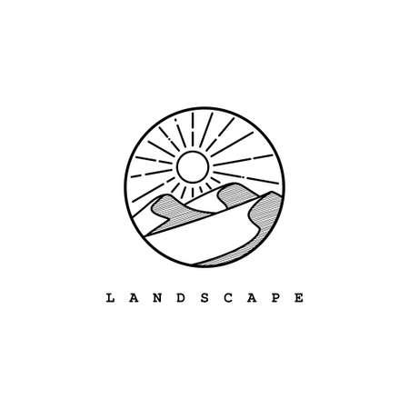 Desert logo design template.Mountain hill with sunshine illustration