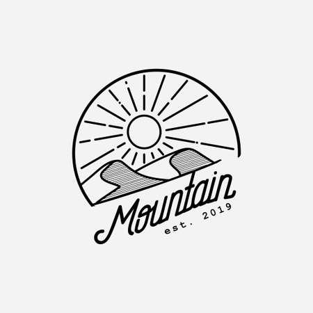 Mountain hill with sunshine illustration.Desert logo design template.