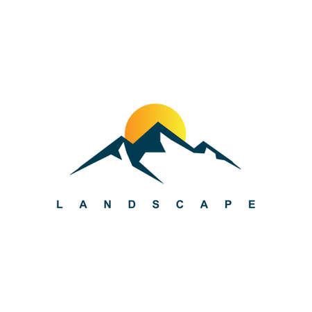 Mountain logo design template.shine sky with mountain illustration
