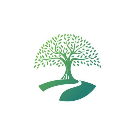 Tree logo design vector template.River tree illustration Logos