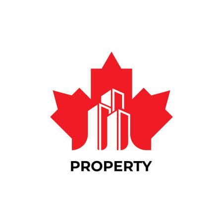 Maple leaf with building symbol logo design template