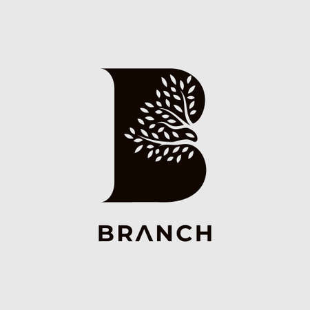 Letter B for branch  design template