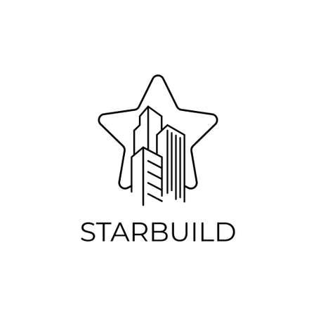 Star build logo design vector template