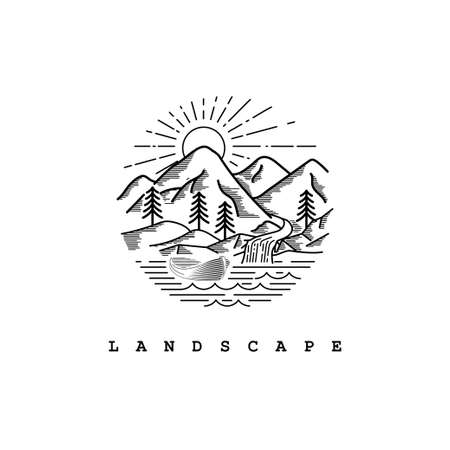 Mountain landscape view with line art style logo design template