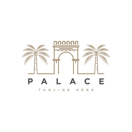 Palace with palm tree logo design symbol vector template