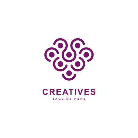 Grapes logo inspiration. Berry logo design symbol vector template. Abstract berry icon illustration