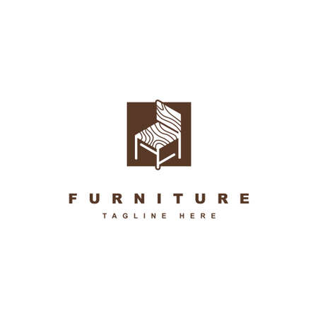 Furniture logo design symbol vector template. Wood chair illustration icon