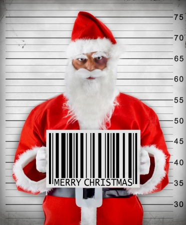 Santa Claus bad barcode wishes a Merry Christmas christmas Stock Photo - 16276233