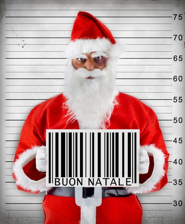 buon: Santa Claus bad barcode wishes a Merry Christmas christmas