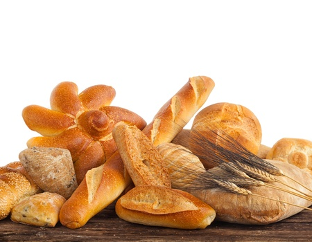 bakery oven: Variety types of bread on wood table  Stock Photo