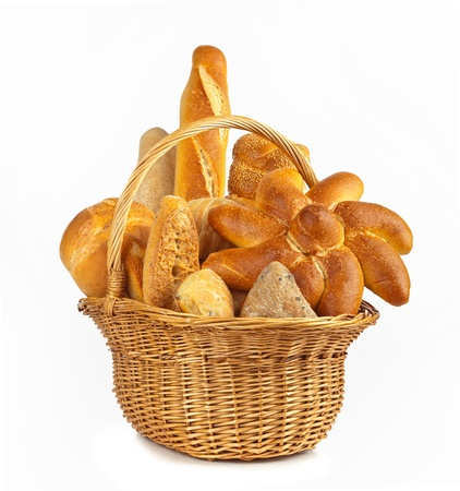 Variety types of bread on white table