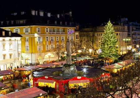 Christmas market in Bolzano with lights and decorations