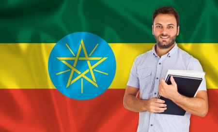 specialization: Male student of languages on Ethiopian flag