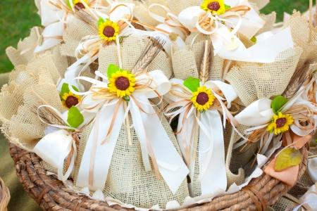 jute: Jute wedding gifts with sunflowers. Stock Photo