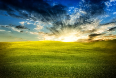 Wonderful infinity sunlight landscape with couds and sun photo