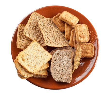 carbohydrates: Whole grain carbohydrates on white background