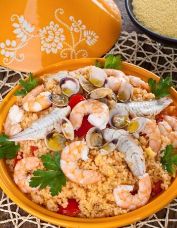 Traditional ethnic food: fish tajine photo