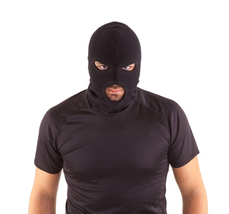 militant: Man in a mask on white background
