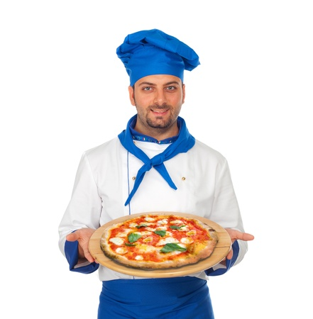 pizza maker: Young chef with neapolitan pizza margherita