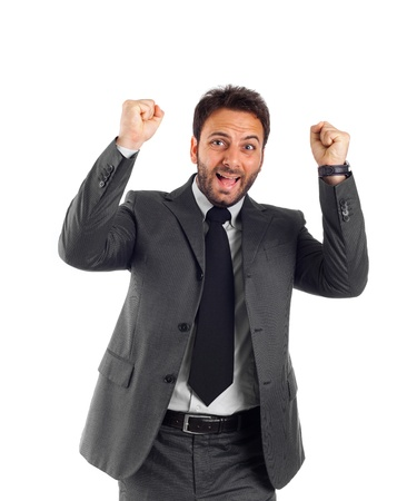 rejoices: Businessman rejoices with arms up