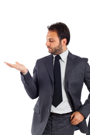 cute guy: Handsome businessman on white background