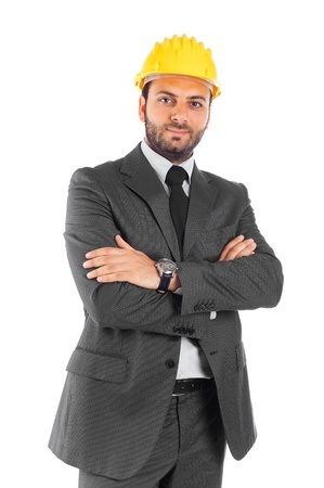 executive helmet: Handsome civil engineer on white background