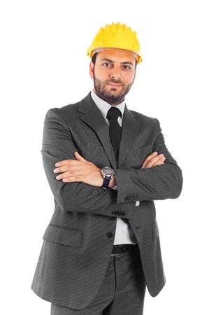 executive helmet: Handsome civil engineer on white background