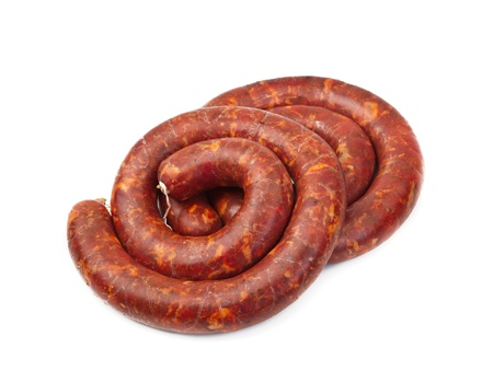 Raw sausage isolated on a white photo