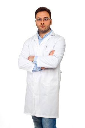 bata de laboratorio: Hombre joven m�dico sobre fondo blanco Foto de archivo