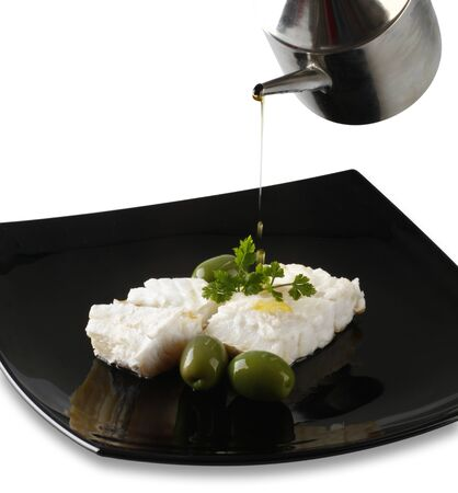 cod oil: Fillet of cod with olives and parsley