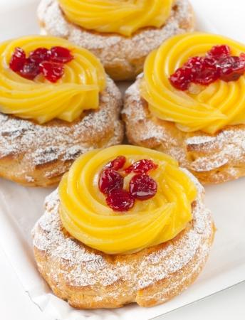 Zeppola di San Giuseppe - Traditional italian pastry for St. Joseph's day Stock Photo - 18397197