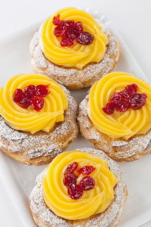 Zeppola di San Giuseppe - Traditional italian pastry for St. Joseph's day Stock Photo - 18397286