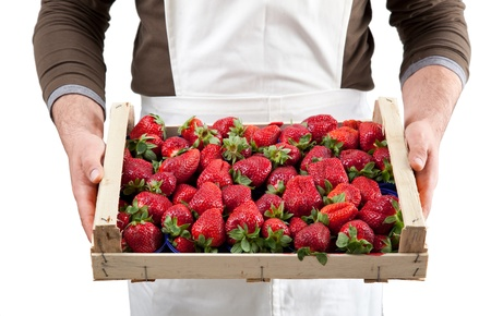 Fresh strawberries in  wooden box photo
