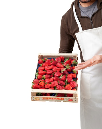 Italian fresh strawberries in  wooden box photo