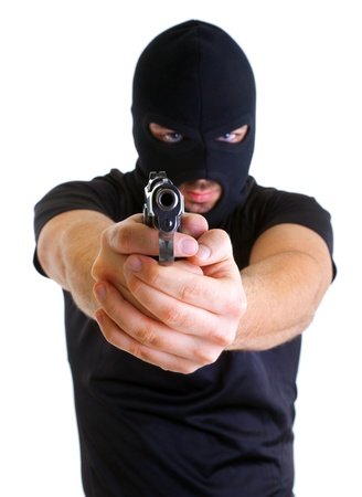 Rowdy: Man in a mask with a gun on a white background
