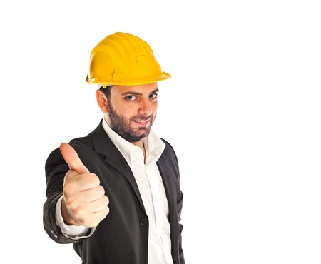 A handsome engineer on white background photo
