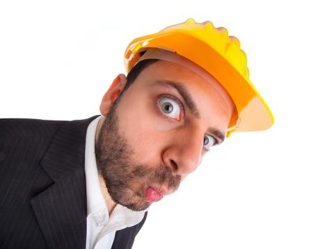 Crazy engineer on white background Stock Photo