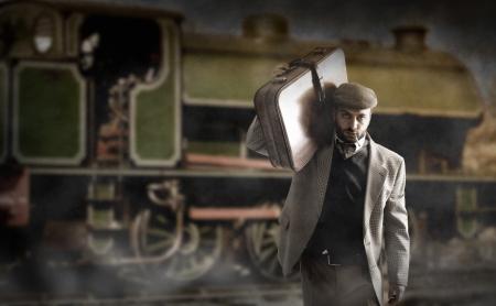 sycylijski: Mężczyzna Emigrant z walizki