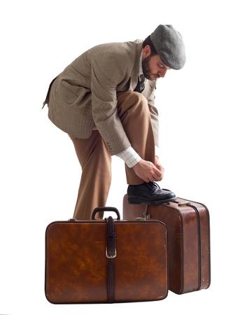 emigrant: Emigrant man with the suitcases