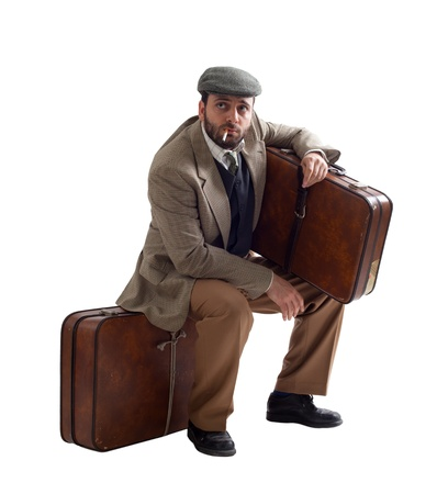 illegal immigrant: Emigrant man with the suitcases