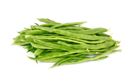 haricot vert: Fresh French Green Beans on white background Stock Photo