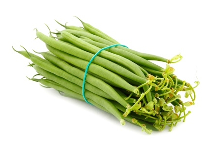 fagiolini: Fresh French Green Beans on white background Stock Photo