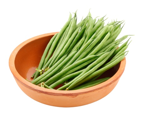 Fresh French Green Beans on white background photo