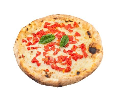 neapolitan: PizzaRegina on white background Stock Photo