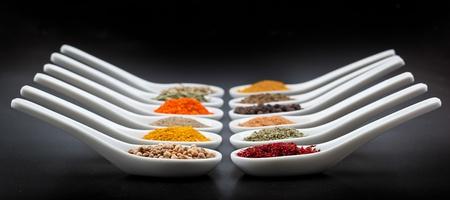 Twelve spices on black background photo