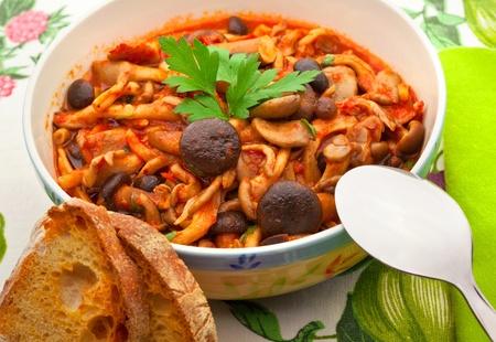 porcini: Porcini mushrooms with tomato Stock Photo