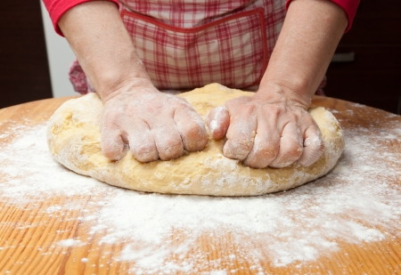 adjective: Female hands in flour closeup kneading dough on table