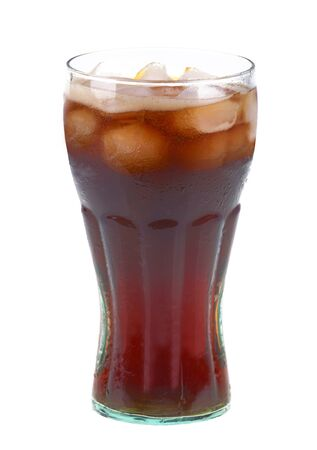 soft drinks: Glass of cola with ice on white background